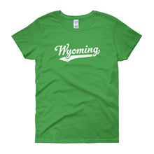 Vintage Wyoming WY Women's T-Shirt with Script Tail Design - JimShorts