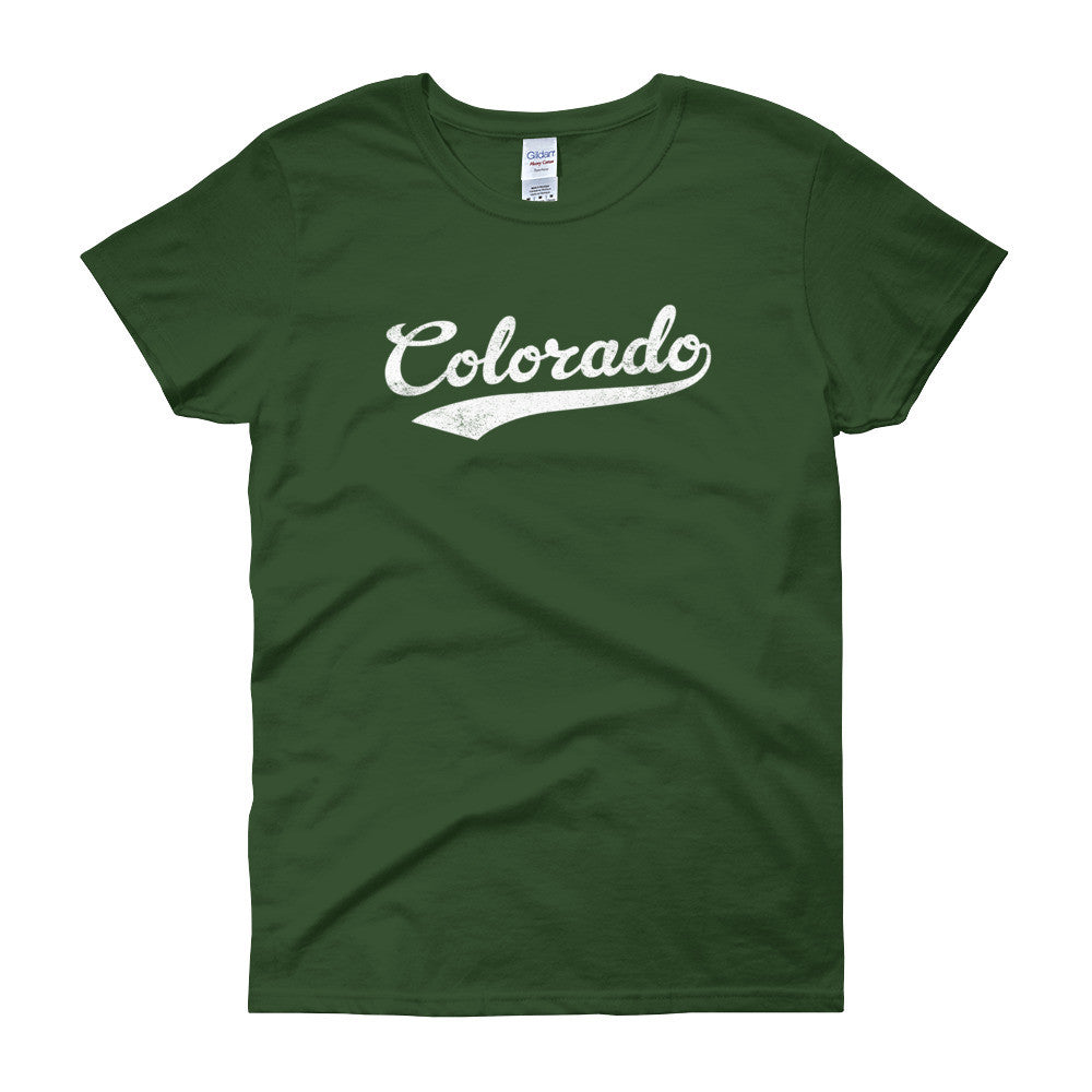 Vintage Colorado CO Women's T-Shirt with Script Tail Design - JimShorts
