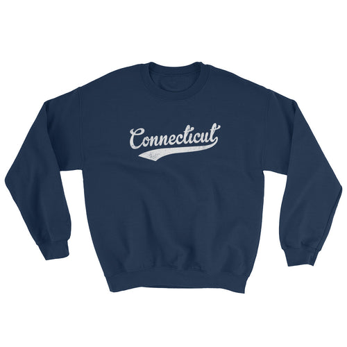 Vintage Connecticut CT Sweatshirt with Script Tail Design Adult (Unisex) - JimShorts