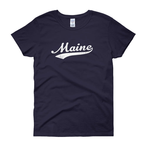 Vintage Maine ME Women's T-Shirt with Script Tail Design - JimShorts
