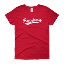Vintage Pennsylvania PA Women's T-Shirt with Script Tail Design - JimShorts