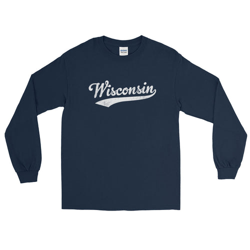 Vintage Wisconsin WI Long Sleeve T-Shirt with Script Tail Design Adult - JimShorts