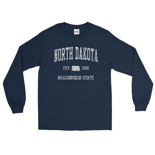 Vintage North Dakota ND Adult Long Sleeve T-Shirt (Unisex) - JimShorts