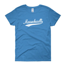 Vintage Massachusetts MA Women's T-Shirt with Script Tail Design - JimShorts