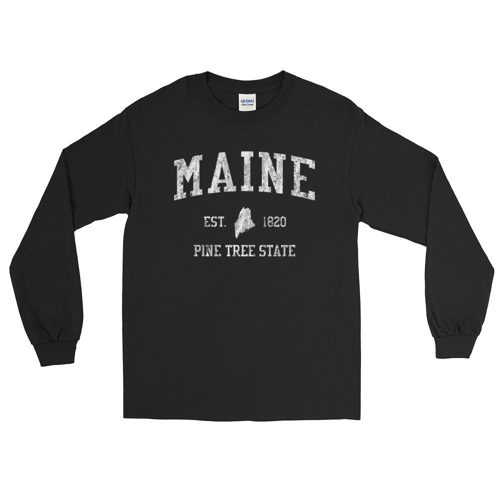 Vintage Maine ME Adult Long Sleeve T-Shirt (Unisex) - JimShorts