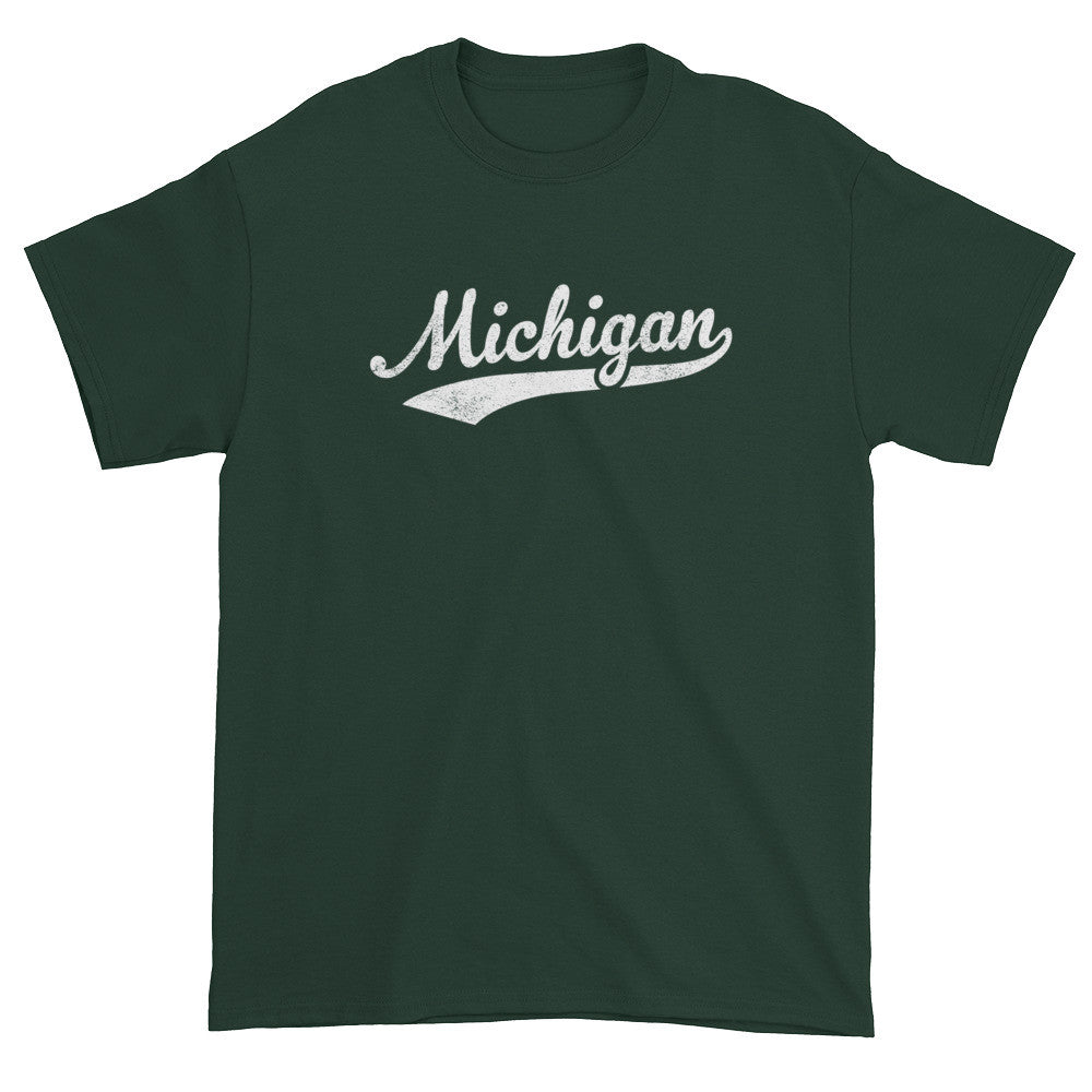 Vintage Michigan MI T-Shirt with Script Tail Design Adult - JimShorts