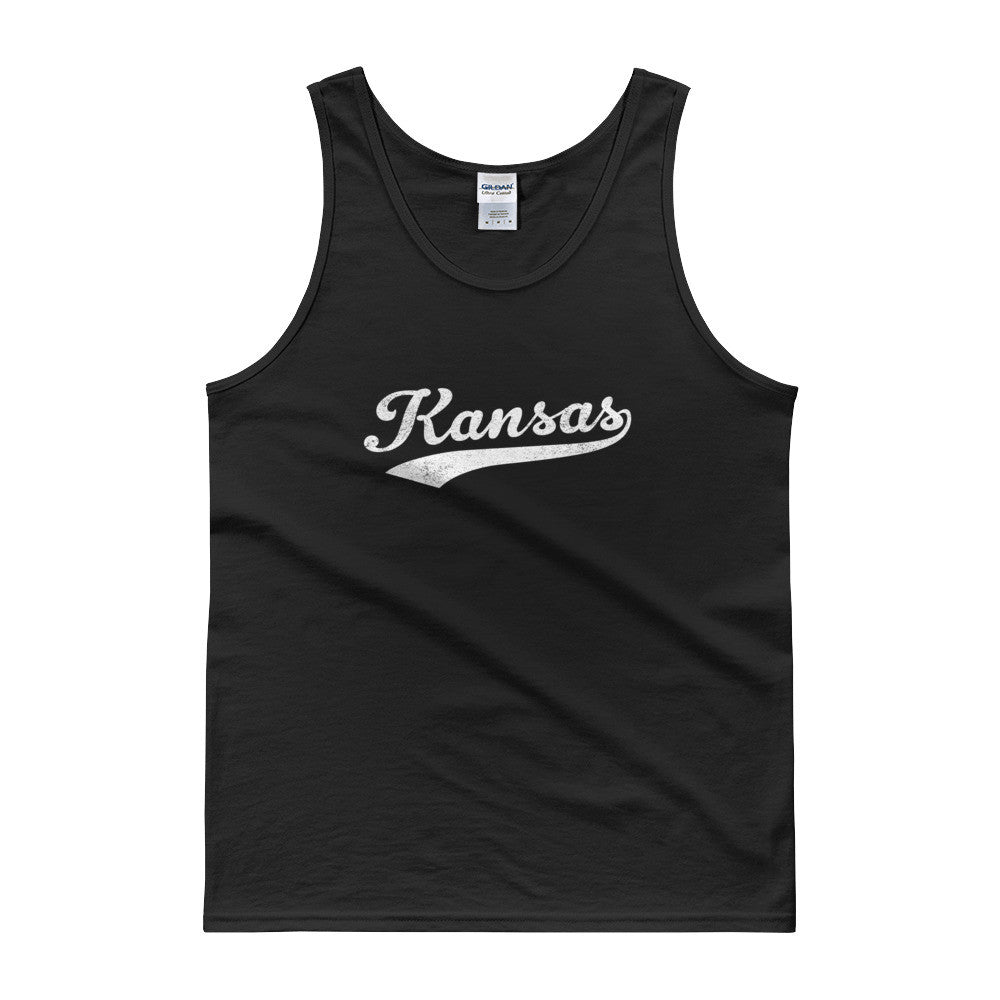 Vintage Kansas KS Tank Top Script Tail Design Adult - JimShorts