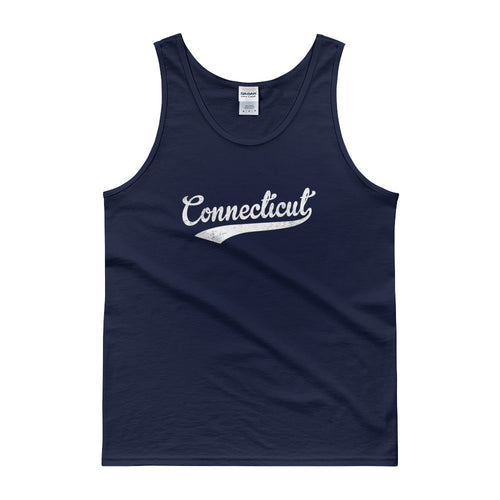 Vintage Connecticut CT Tank Top Script Tail Design Adult - JimShorts