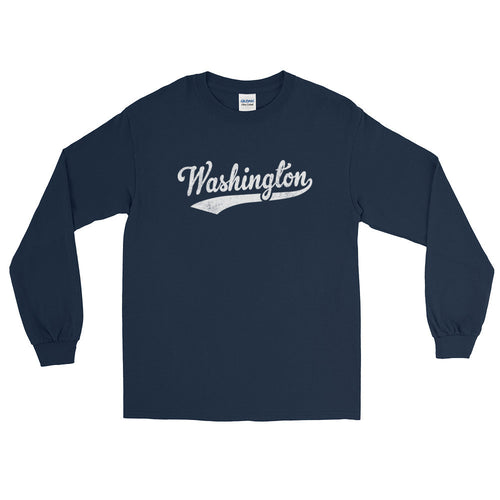 Vintage Washington WA Long Sleeve T-Shirt with Script Tail Design Adult - JimShorts