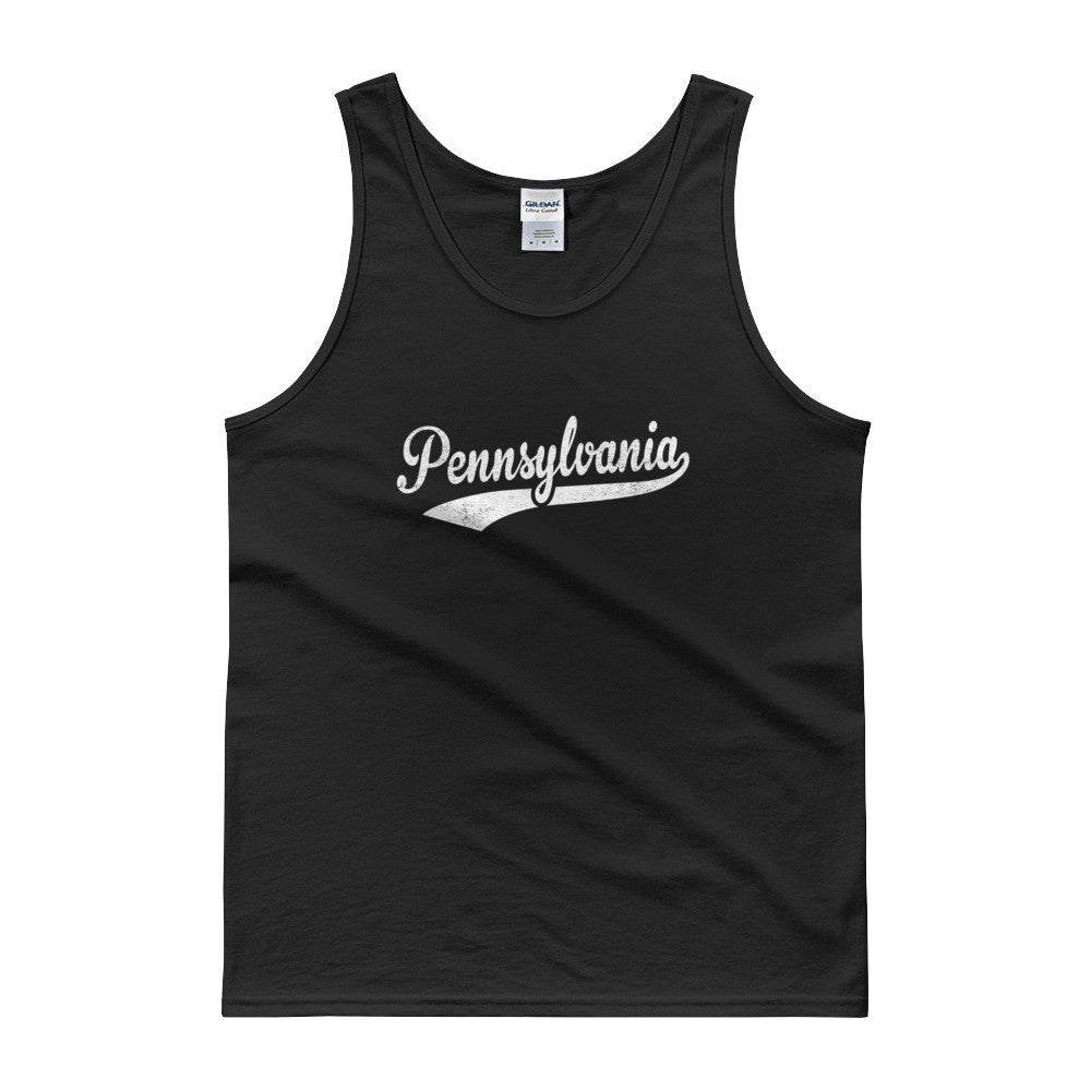 Vintage Pennsylvania PA Tank Top Script Tail Design Adult - JimShorts