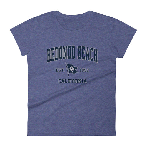 Redondo Beach California CA Womens Fashion Fit T-Shirt Vintage Boat Anchor Flag Design