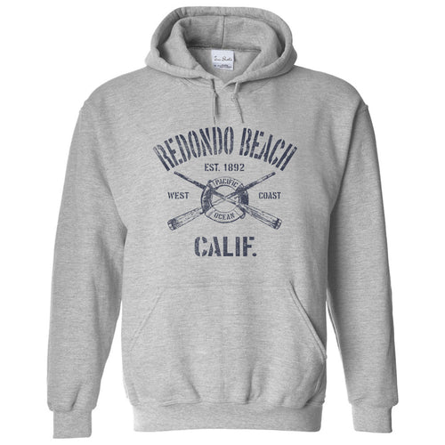 Redondo Beach California CA Sport Grey Hoodie Nautical Boating Design (Unisex)