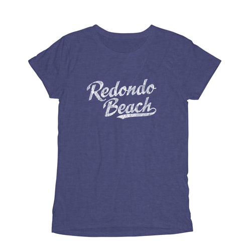 Redondo Beach California CA Women's Fashion Fit T-Shirt Baseball Script Sports Design