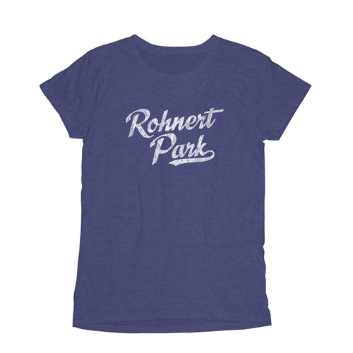 Rohnert Park California CA Women's Fashion Fit T-Shirt Baseball Script Sports Design