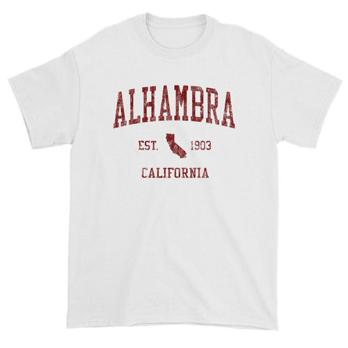 Vintage Alhambra California CA T-Shirts Red Print