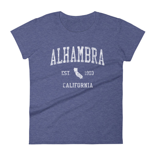 Alhambra California CA Women's T-Shirt Vintage Sports Design Tee