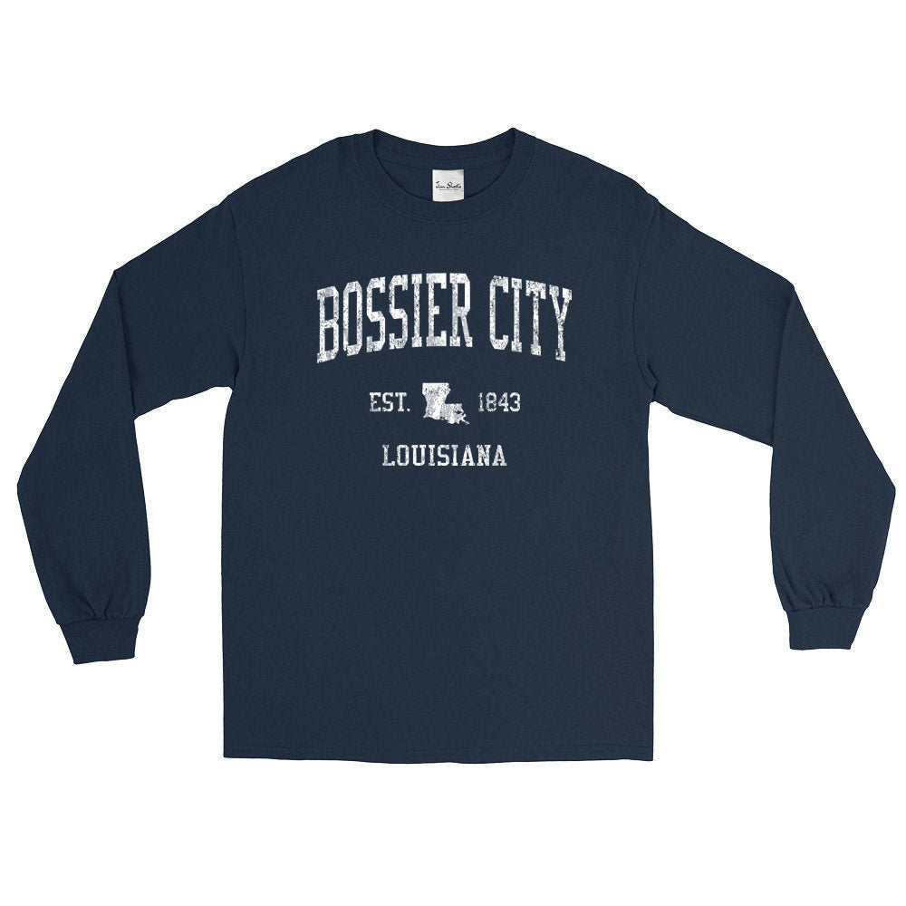 Vintage Bossier City Louisiana La Adult Long Sleeve T-Shirt (Unisex)
