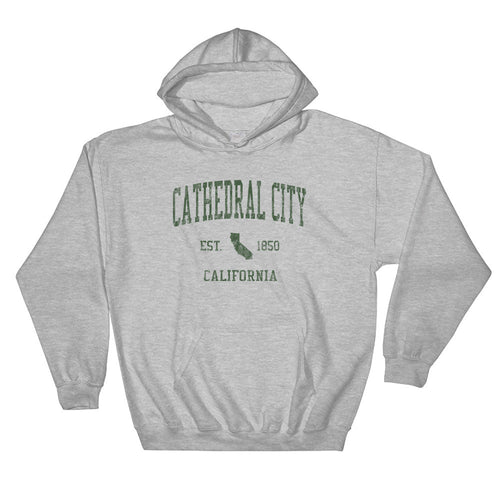 Vintage Cathedral City California CA Hoodie Adult  (Green Print)