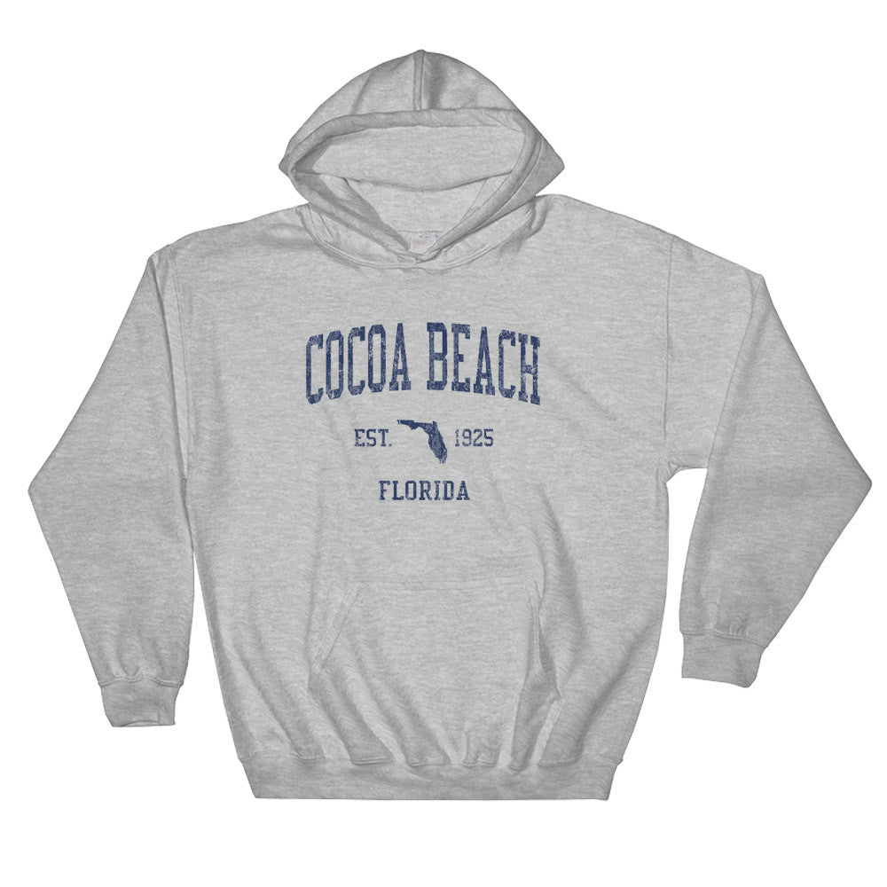 158359d30213 Vintage Cocoa Beach Florida FL Hoodie Adult (Navy Print) – Jim Shorts