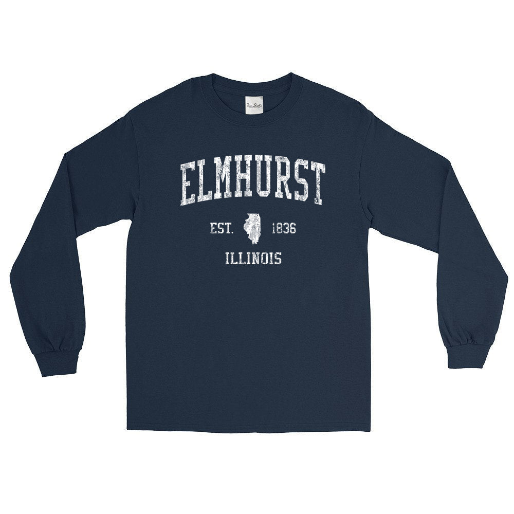 Vintage Elmhurst Illinois IL Adult Long Sleeve T-Shirt (Unisex)