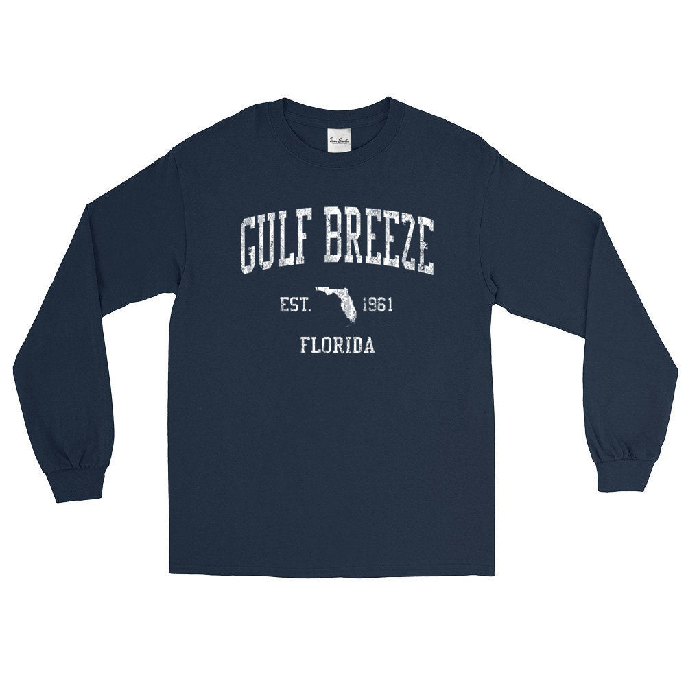Vintage Gulf Breeze Florida FL Adult Long Sleeve T-Shirt (Unisex)