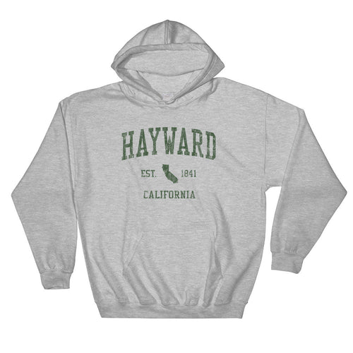 Vintage Hayward California CA Hoodie Adult  (Green Print)