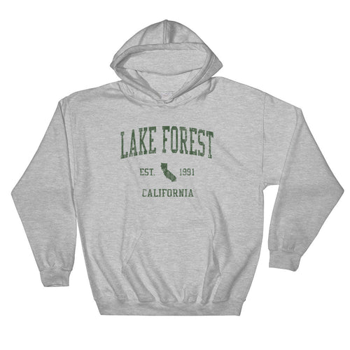 Vintage Lake Forest California CA Hoodie Adult  (Green Print)