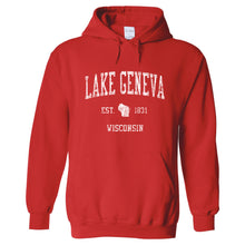 Lake Geneva Wisconsin WI Hoodie Vintage Sports Design - Adult (Unisex)
