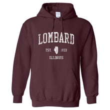 Lombard Illinois IL Hoodie Vintage Sports Design - Adult (Unisex)