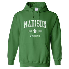 Madison Wisconsin WI Hoodie Vintage Sports Design - Adult (Unisex)