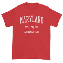 Vintage Maryland T-Shirt Sports Design Heavy Cotton Adult Tee