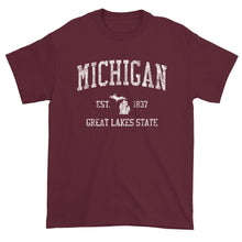 Vintage Michigan T-Shirt Sports Design Heavy Cotton Adult Tee