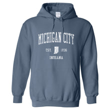 Michigan City Indiana IN Hoodie Vintage Sports Design - Adult (Unisex)