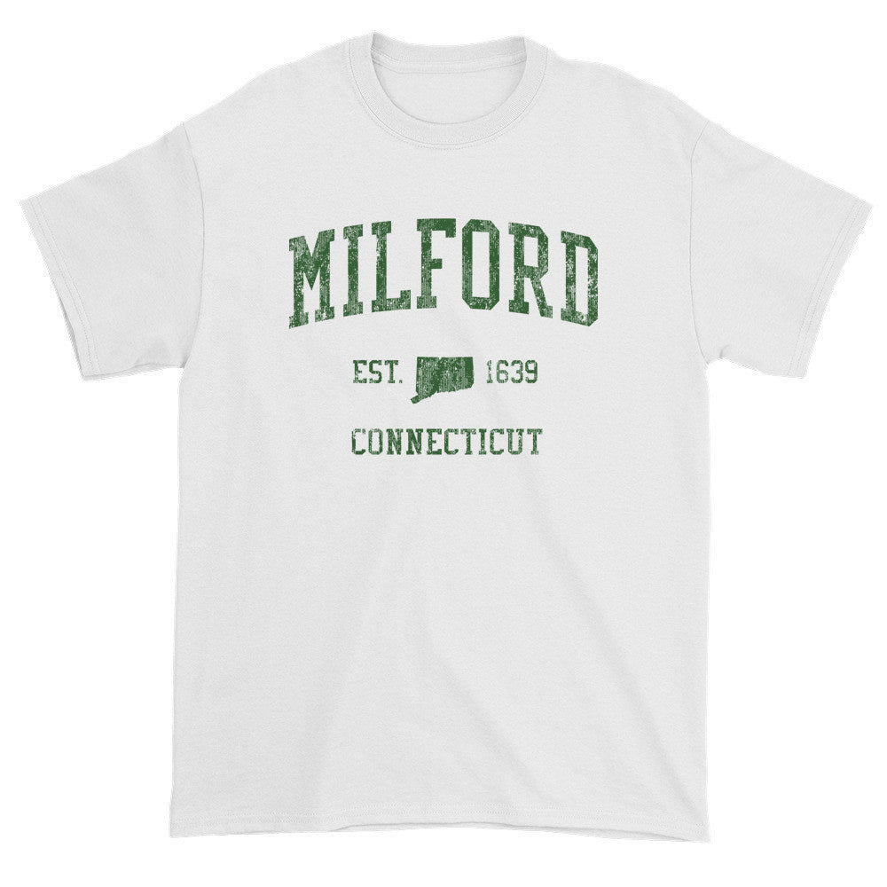 16feaf4dc4c5 Vintage Milford Connecticut CT T-Shirt Adult (Green Print) - Jim Shorts
