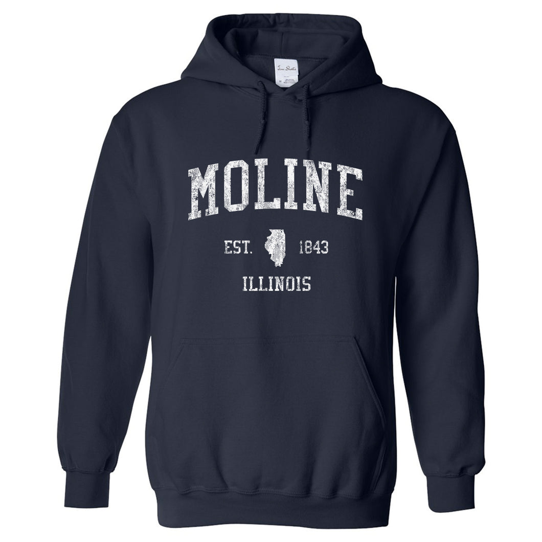 Moline Illinois IL Hoodie Vintage Sports Design - Adult (Unisex)
