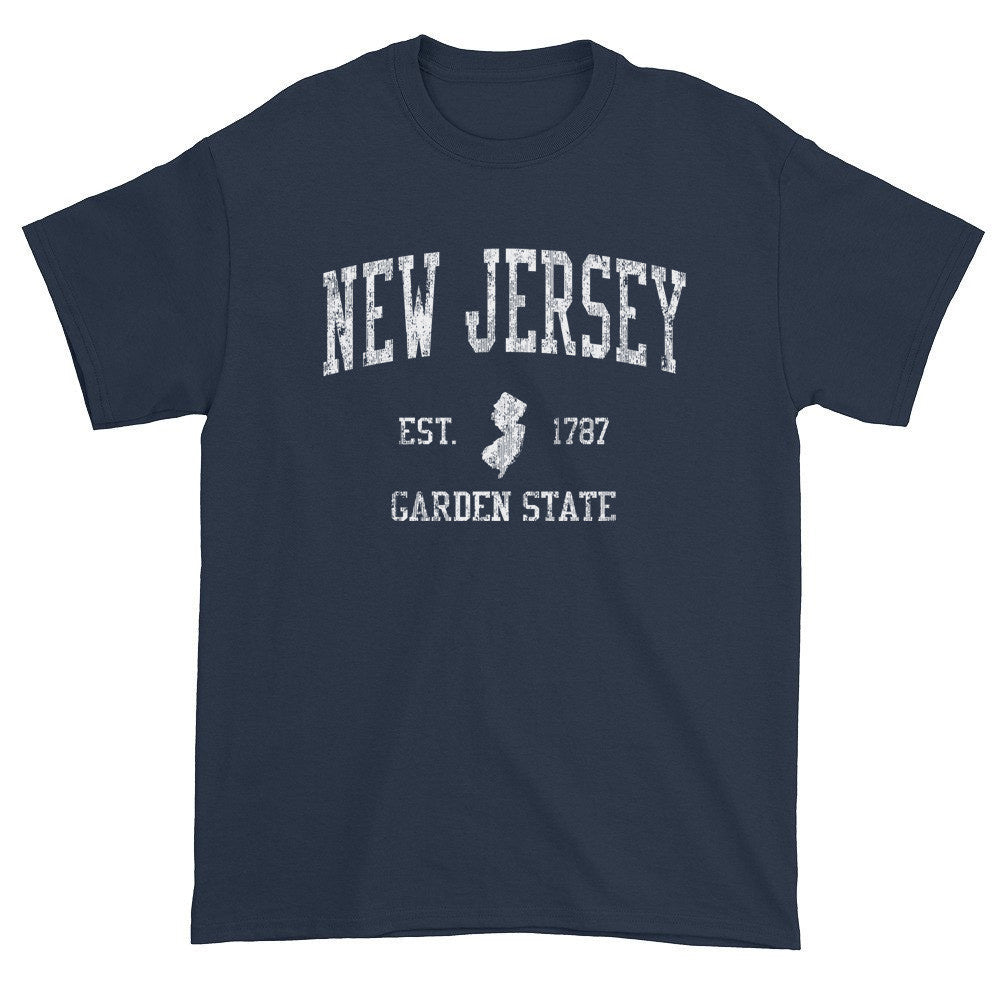 New Jersey T-Shirt Vintage Sports Design Heavy Cotton Adult Tee ...