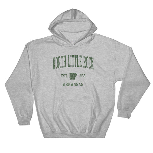 Vintage North Little Rock Arkansas AR Hoodie Adult  (Green Print)