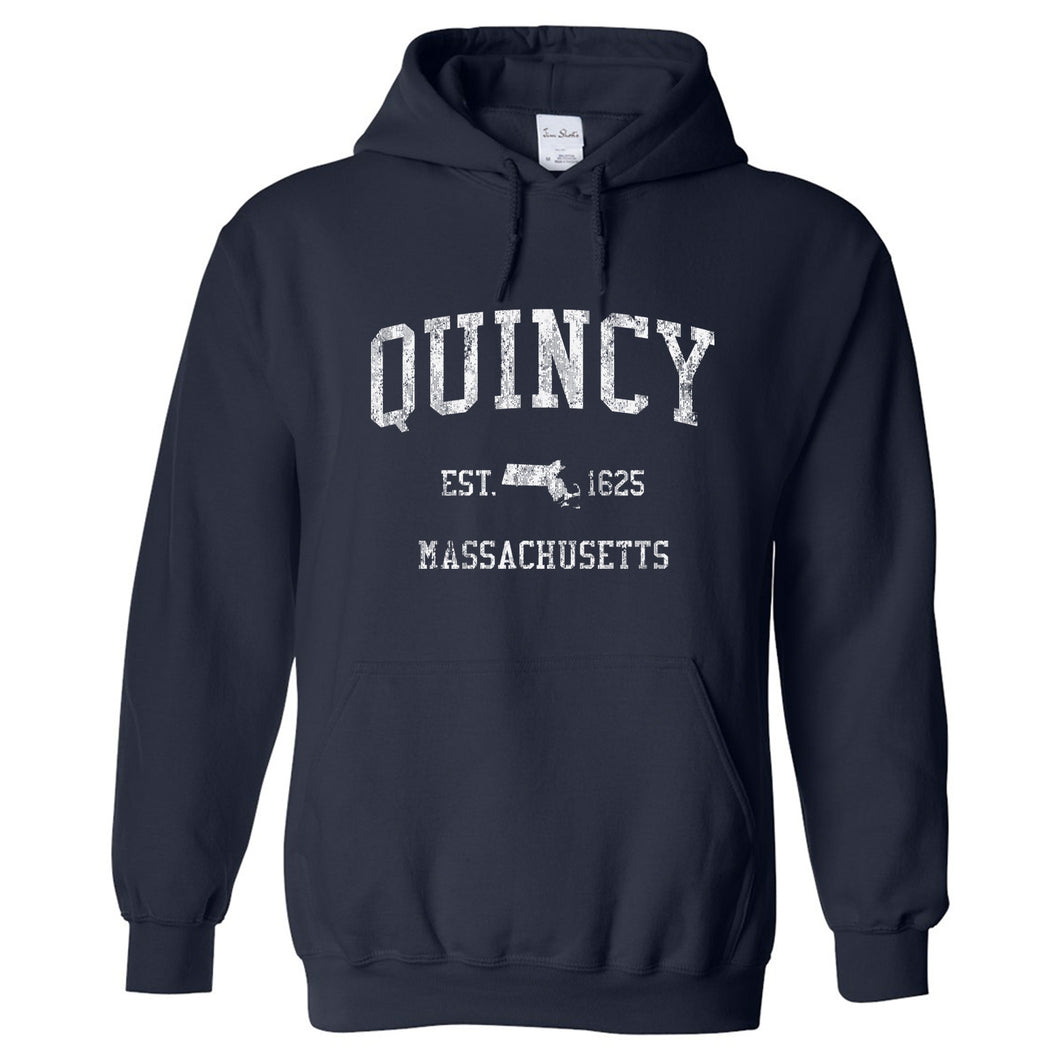 Quincy Massachusetts MA Hoodie Vintage Sports Design - Adult (Unisex)