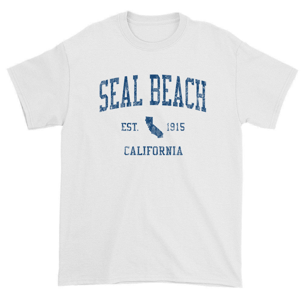 Vintage Seal Beach California CA T-Shirts Red Print