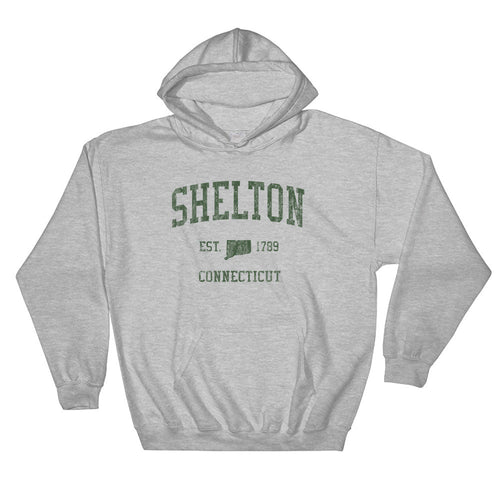 Vintage Shelton Connecticut CT Hoodie Adult  (Green Print)