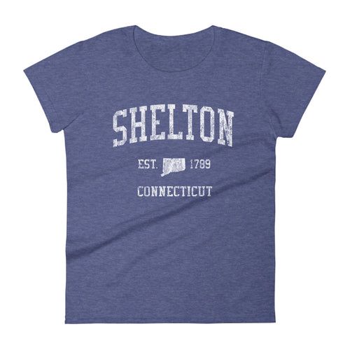 Shelton Connecticut CT Women's T-Shirt Vintage Sports Design Tee