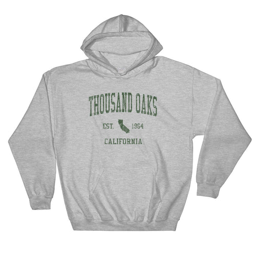 Vintage Thousand Oaks California CA Hoodie Adult  (Green Print)