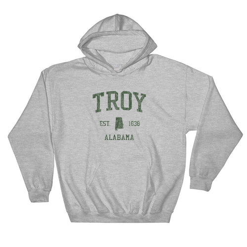 Vintage Troy Alabama AL Hoodie Adult  (Green Print)