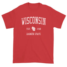 Vintage Wisconsin T-Shirt Sports Design Heavy Cotton Adult Tee