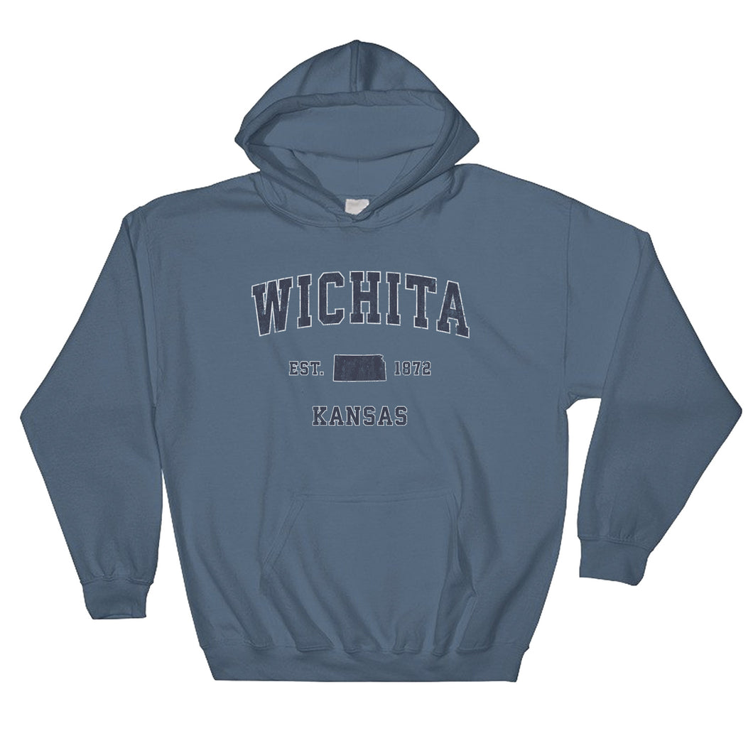 Wichita Kansas Ks Hoodie Vintage Sports Design Adult Unisex