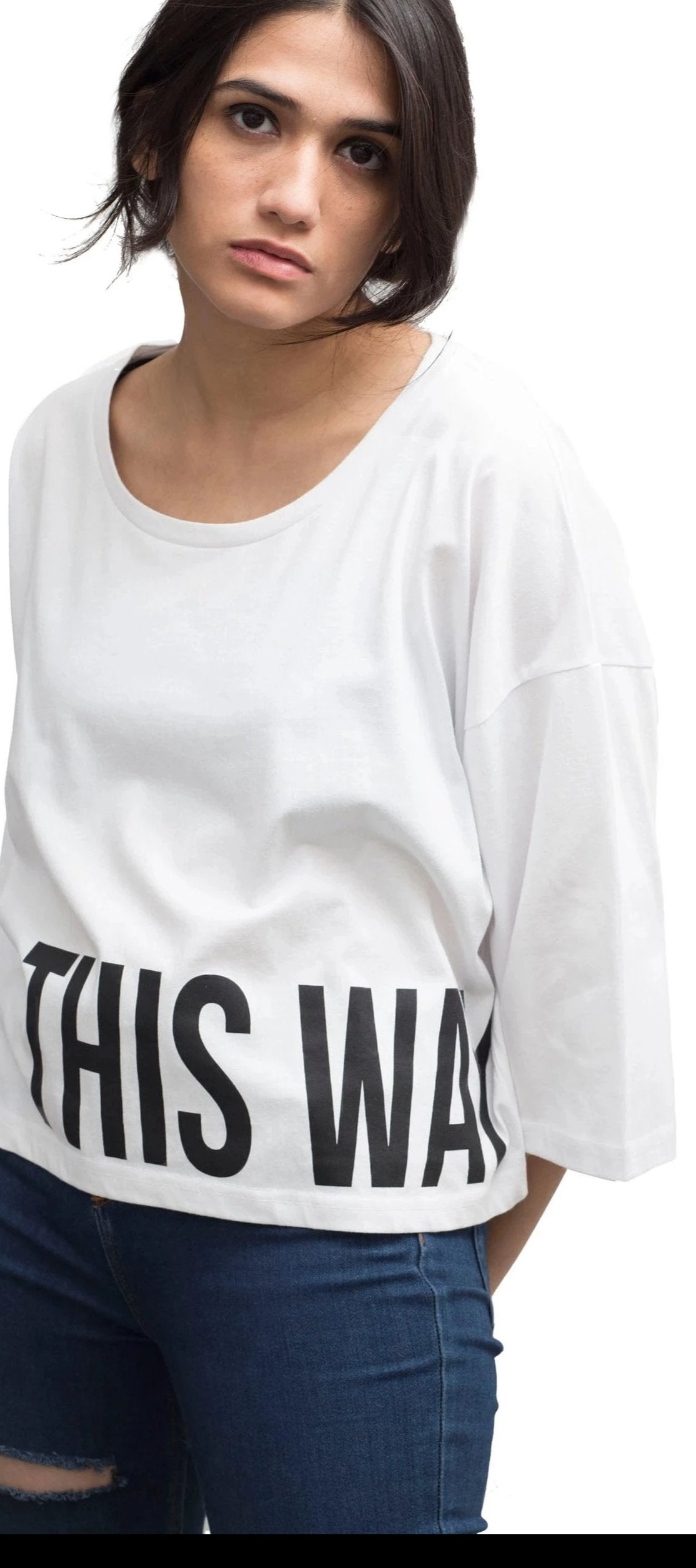 100% Cotton graphic t-shirt with this way out print