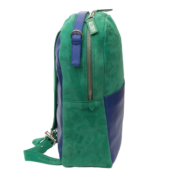 green and blue leather backpack