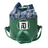 Green drawstring designer backpack for women