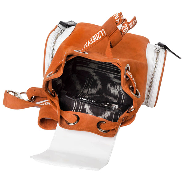 orange and white cool backpack