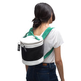 Cylindrical black backpack for women